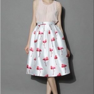 Chic Pleated Flamingo A-Line Skirt